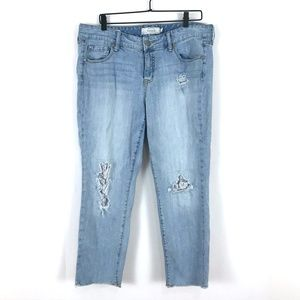 Torrid Boyfriend distressed denim jeans lace holes